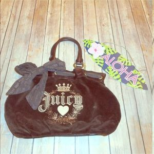 Juicy couture velvet brown vtg handbag purse